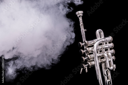 Fotografie, Obraz  A silver plated piccolo trumpet in smoke on a black background