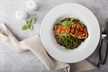 Grilled Salmon With Lentils An...