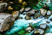 The Turquoise Waters Coquihalla River As It Flows Through The Deep Coquihalla Canyon And Past The Othello Tunnels Of The Old Kettle Valley Railway Near The Town Of Hope, British Columbia, Canada