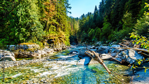 Aluminium Prints Forest river The Coquihalla River before it flows through Coquihalla Canyon Provincial Park and past the Othello Tunnels of the old Kettle Valley Railway near the town of Hope, British Columbia, Canada