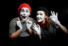 Cute Mime Artists On Black