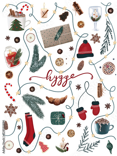 Fotografering  hygge christmas collection of festive holiday items