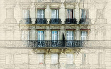 Sketch Of Parisian Facade