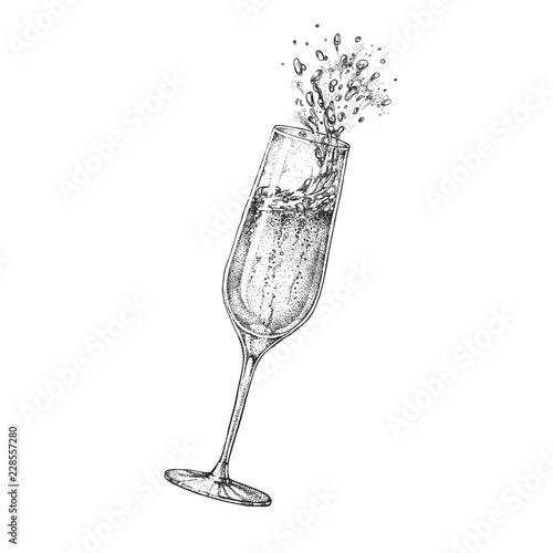 Slika na platnu Vector illustration of hand drawing champagne glass with splash