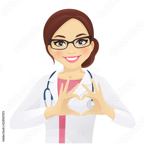 Fototapeta Smiling woman doctor or nurse with stethoscope showing heart sign isolated vector illustration obraz