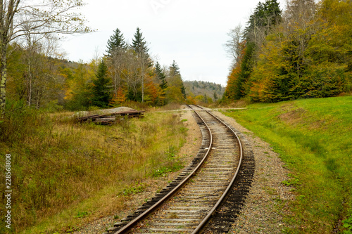 Fotografie, Obraz  Railroad tracks on the mountain in fall horizontal shot