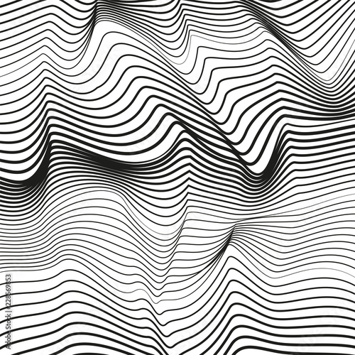 Fotografia, Obraz  Abstract black and white deformed background
