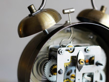 Golden Alarm Clock With Mechan...