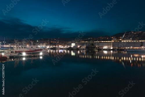 Fotobehang Noord Europa Old Port of Genoa, Italy at night