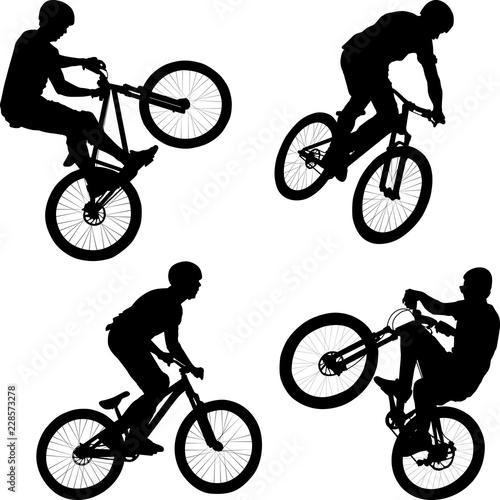 vector illustration of man doing bike trick Fototapeta