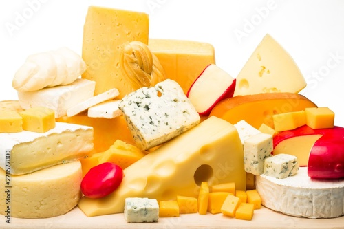 Various Kinds of Cheeses on the Wooden Platter