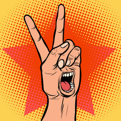 scream delight mouth emotion hand victory gesture