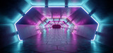 Fototapeta Perspektywa 3d - Bright Modern Futuristic Alien Reflective Concrete Corridor Tunnel Empty Room With Purple And Blue Neon Glowing Lights Hexagon Floor Background 3D Rendering