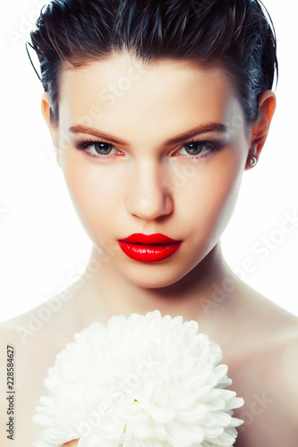 Fotografie, Obraz  young brunette woman close up isolated on white background with