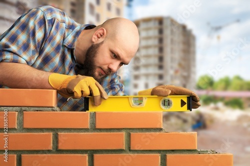 Fototapety, obrazy: Bricklayer cement masonry build layer house worker