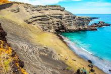 View Of The Beach Papakolea (green Sand Beach), Hawaii, USA. Copy Space For Text.