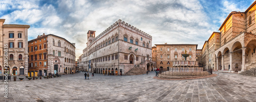 Poster Con. Antique Panoramic view of Piazza IV Novembre, Perugia, Italy