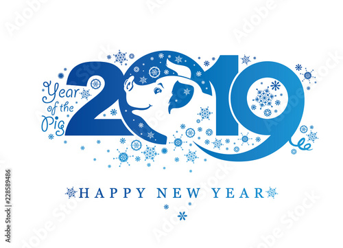 Fototapeta Pig 2019. Blue pattern with snowflakes. Happy New Year! Vector template New Year's design on the Chinese calendar.  obraz na płótnie