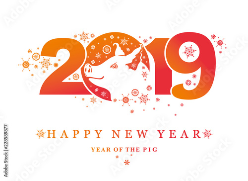 Pig 2019. Happy New Year! Year of the Pig. Vector template New Year's design on the Chinese calendar.