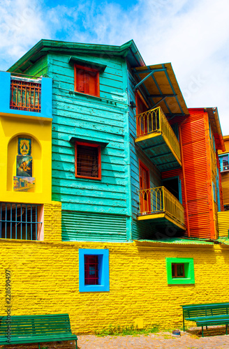 Poster Buenos Aires La Boca, view of the colorful building in the city center, Buenos Aires, Argentina. Vertical.