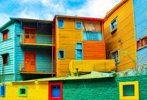 Poster de jardin Buenos Aires La Boca, view of the colorful building in the city center, Buenos Aires, Argentina.