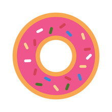 Minimalist, Flat, Pink Donut Icon. Isolated On White