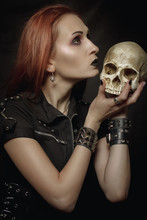 Heavy Metal Girl With Skull