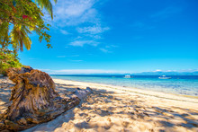 View Of The Sandy Beach In Moalboal, Cebu, Philippines. Copy Space For Text.