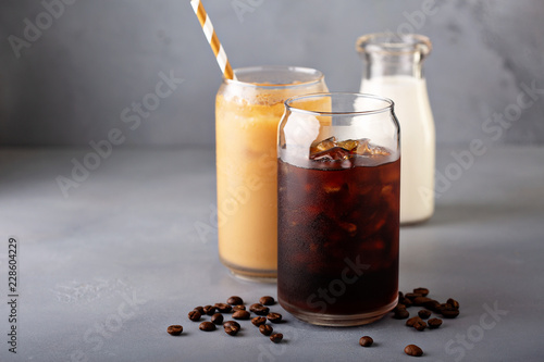 Cuadros en Lienzo Cold brew iced coffee in glass bottles