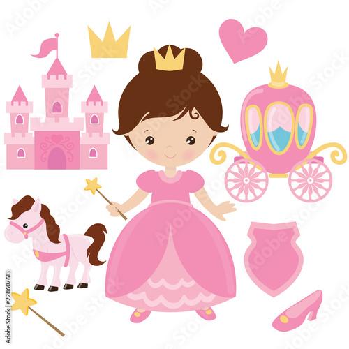 Poster Castle Princess vector cartoon illustration