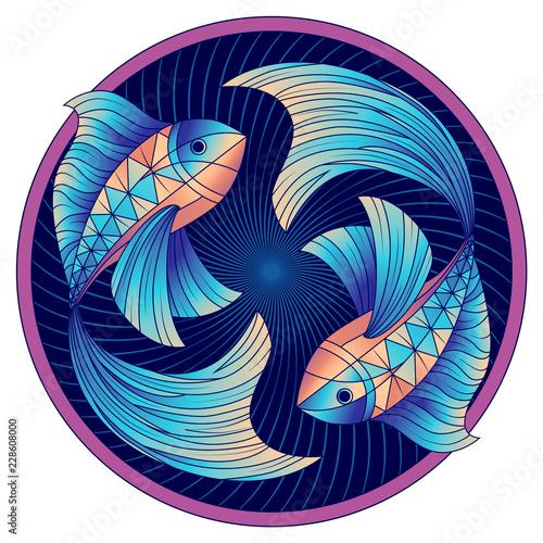 Fényképezés Pisces zodiac sign, horoscope symbol blue, vector