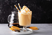 Caramel Coffee Latte In A Dessert Glass