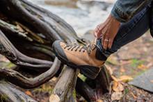 Tying Hiking Boot