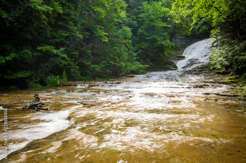 National park mountain river scenery in summer