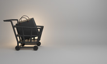 Black Basket Trolley Cart And Shopping Bag In The Studio Lighting On White Background, Copy Space Text, Design Creative Concept For Black Friday Sale Event. 3D Rendering Illustration.