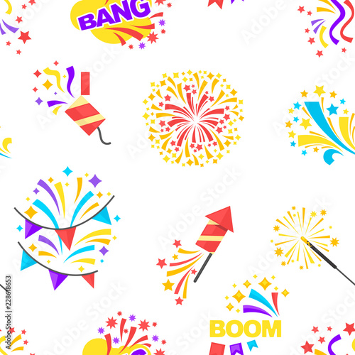 Fotografija  Bang party and celebration of holiday seamless pattern isolated on white vector