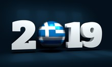 2019 Happy New Year Background For Seasonal Greetings Card Or Christmas Themed Invitations. Flag Of The Greece. 3D Rendering