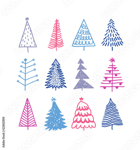 Fototapety, obrazy: Hand drawn set of Christmas trees. Holidays background. Abstract  doodle drawing woods. Vector art illustration