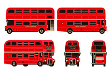 London Bus Red Double Decker  Transportation Set In Flat Style Vector Illustration