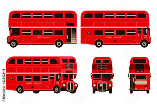 London bus red double decker  transportation set in flat style vector illustrati Fototapete