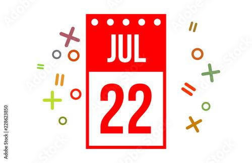 Fotografia  22 July Red calendar Number
