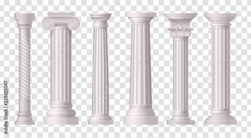 Antique White Columns Transparent Icon Set Canvas Print