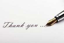 "Iridium Point Fountain Pen And Inscription ""Thank You"""
