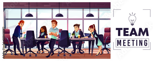 Valokuva  Business startup team meeting cartoon vector concept with entrepreneurs or offic