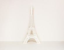 Pop Up Card Set With Organic Paper Of The Famous Landmark Eiffel Tower.