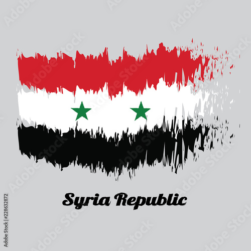 Brush Style Color Flag Of Syrian A Horizontal Tricolor Of Red White