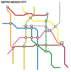 Vector illustration of the mexico city metro map