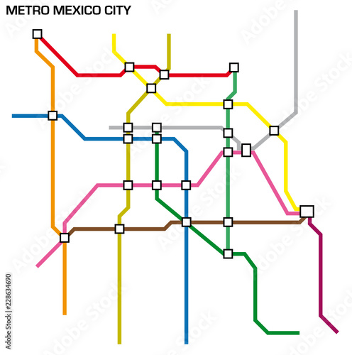 Mexco City Subway Map.Vector Illustration Of The Mexico City Metro Map Buy This Stock