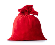 Santa Claus Red Bag, Full, Isolated On White Background. File Contains A Path To Isolation.