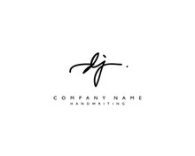 D J Initial Handwriting Logo